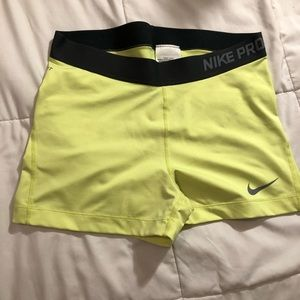 neon highlighter yellow nike pro spandex